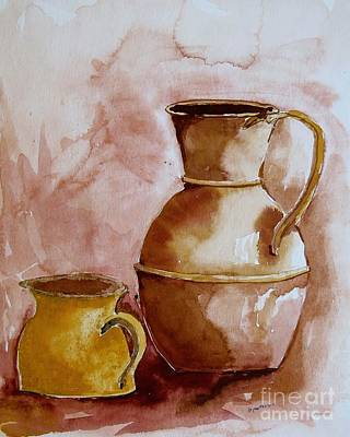 Painting - Bert's Brass Jugs  by Nancy Patterson