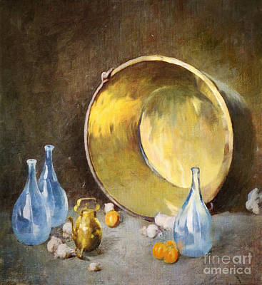 Digital Art - Brass Kettle With Blue Bottles After Carlsen by Lianne Schneider