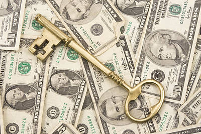 Brass Key To Success Money Print by Keith Webber Jr