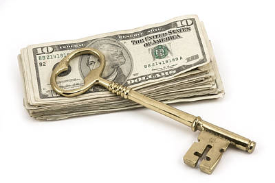 Photograph - Brass Key To Success On Pile Of American Money  by Keith Webber Jr