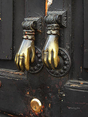 Photograph - Brass Knockers by Xueling Zou