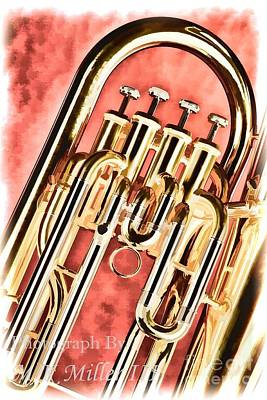 Painting - Brass Music Instrument Tuba Valves Painting In Color 3278.02 by M K  Miller