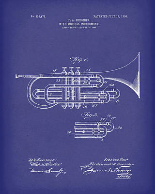Drawing - Brass Musical Instrument 1906 Patent Art Blue by Prior Art Design