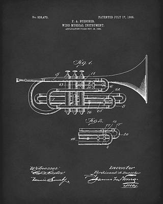 Drawing - Brass Musical Instrument 1906 Patent Black by Prior Art Design