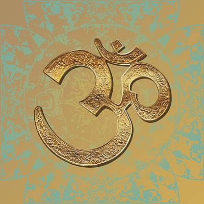 Digital Art - Gold Brass Om Mandala by ReadyForYoga Online-Shop