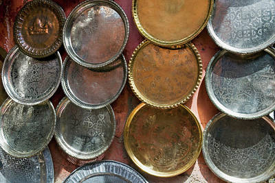 Moroccan Photograph - Brass Plates For Sale In The Souk by Nico Tondini