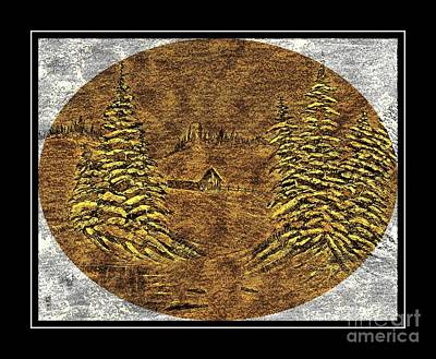 Snowy Day Mixed Media - Brass-type Etching - Oval - Cabin Between The Trees by Barbara Griffin