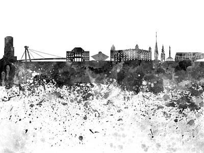 Slovakia Painting - Bratislava Skyline In Black Watercolor On White Background by Pablo Romero