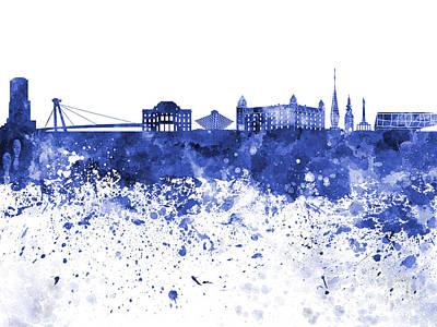 Slovakia Painting - Bratislava Skyline In Blue Watercolor On White Background by Pablo Romero