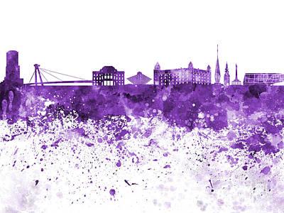 Slovakia Painting - Bratislava Skyline In Purple Watercolor On White Background by Pablo Romero