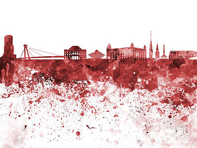 Slovakia Painting - Bratislava Skyline In Red Watercolor On White Background by Pablo Romero