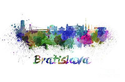 Slovakia Painting - Bratislava Skyline In Watercolor by Pablo Romero