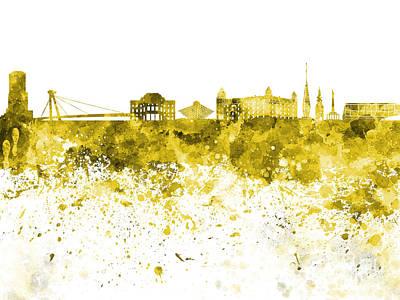 Slovakia Painting - Bratislava Skyline In Yellow Watercolor On White Background by Pablo Romero