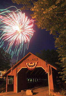 Photograph - Brattleboro Vermont Covered Bridge Fireworks by John Burk