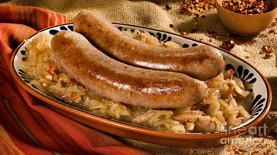Octoberfest Photograph - Bratwurst With Sauerkraut by Iris Richardson