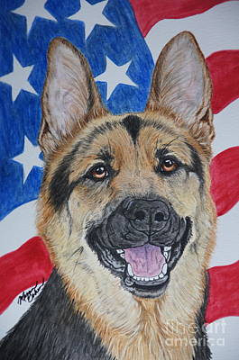 Watercolor Pet Portraits Painting - German Shepherd-fearless Bravery by Megan Cohen