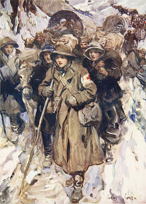 First Snow Drawing - Brave Nurses In The Retreat by Cyrus Cuneo