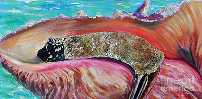 Newton Mixed Media - Braveheart The Mighty Conch by Li Newton
