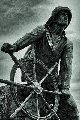 Small Statue Photograph - Braving The Storm by Stephen Stookey