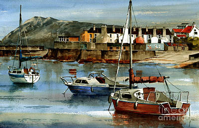 Painting - Bray Harbour Boats Wicklow by Val Byrne