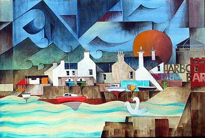 Painting - Bray Harbour by Val Byrne