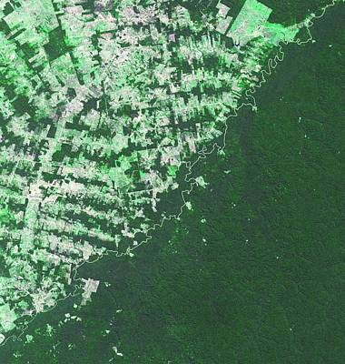 Farm Border Photograph - Brazil-bolivia Border by Nasa/gsfc/meti/ersdac/jaros, And U.s./japan Aster Science Team