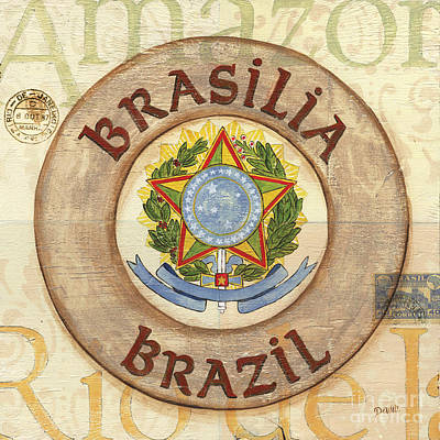 Travel Destinations Painting - Brazil Coat Of Arms by Debbie DeWitt