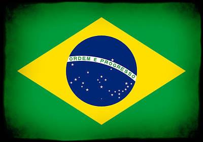 Photograph - Brazil Flag Framed by Kurt Van Wagner