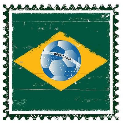 Poststamps Digital Art - Brazil Flag Like Stamp In Grunge Style by Michal Boubin
