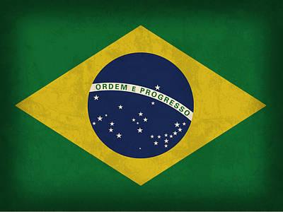 Flag Mixed Media - Brazil Flag Vintage Distressed Finish by Design Turnpike