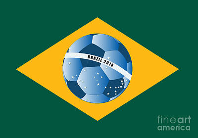 Poststamps Digital Art - Brazil Flag With Ball by Michal Boubin