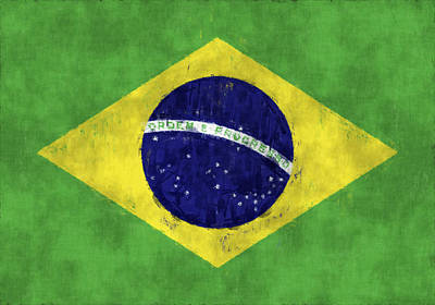 Gree Digital Art - Brazil Flag by World Art Prints And Designs