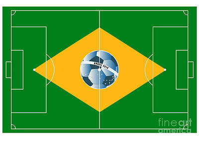 Brazil Football Field Art Print