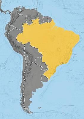 Brazil, Relief Map Art Print