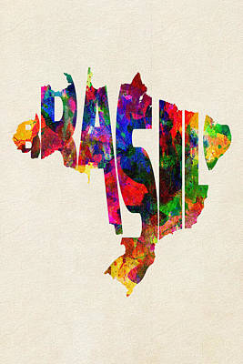 Brazil Typographic Watercolor Map Art Print by Ayse Deniz