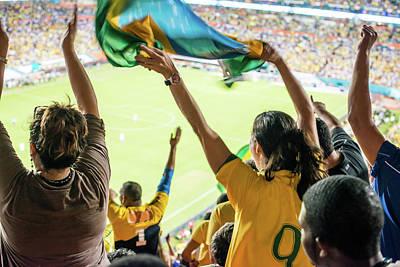 Brazilian Fan Celebrating Goal Art Print by Ramiro Olaciregui