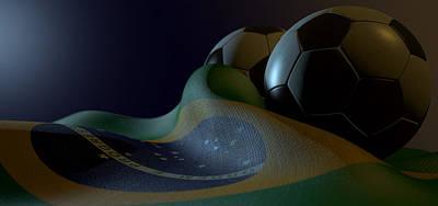 Brazil Digital Art - Brazilian Flag And Soccer Ball by Allan Swart