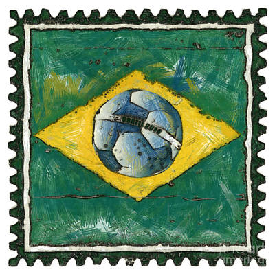 Poststamps Digital Art - Brazilian Flag With Ball In Grunge Style by Michal Boubin