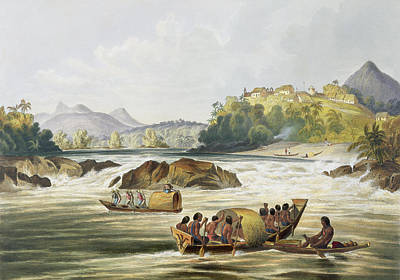 Canoes Drawing - Brazilian Fort St. Gabriel On The Rio by Charles Bentley