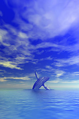 Digital Art - Breaching Whale by Lars Lentz