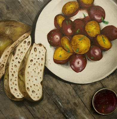 Wall Art - Painting - Bread And Potatoes by Stephen J DiRienzo