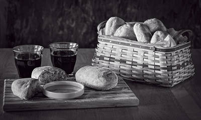 Photograph - Bread And Wine Bw by Wayne Meyer