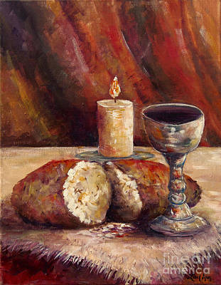 Communion Painting - Bread And Wine by Lou Ann Bagnall