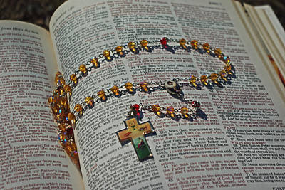 Photograph - Bread Of Life Eucharist Rosary Bible by Robyn Stacey