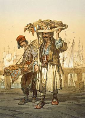 Turkey Drawing - Bread Sellers On The Quay, 1865 by Amadeo Preziosi