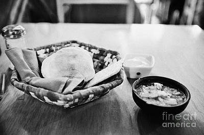 breads and salsa inside la luna restaurant Punta Arenas Chile Art Print by Joe Fox