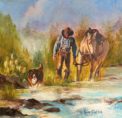 Art Print featuring the painting Break For The Ride by Karen Kennedy Chatham