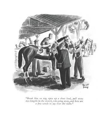 Jockey Drawing - Break Him On Top by Robert J. Day