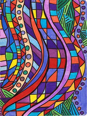 Checkered Pattern Drawing - Break Through Safari by Alison Cloninger