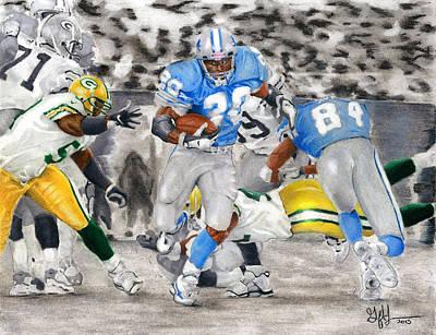 Detroit Lions Drawing - Breakaway by Geoff Hinkley